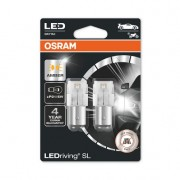 SET 2 BECURI AUXILIARE CU LED 12V (P21/5W) AMBER BLI OSRAM